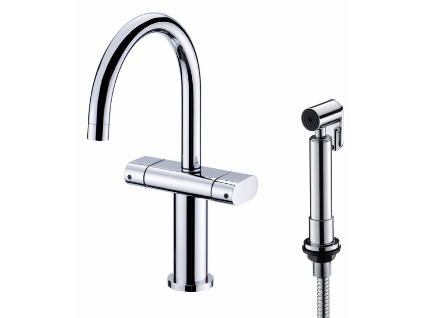 Countertop chromed brass kitchen mixer tap with spray PERFECTO | Kitchen mixer tap with spray - JUSTIME