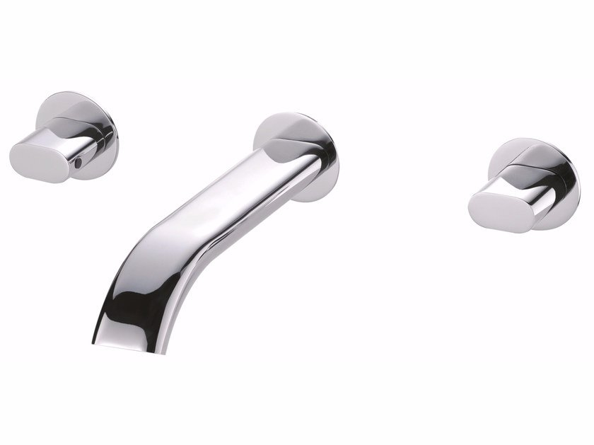 3 hole wall-mounted chromed brass washbasin tap PERFECTO | Wall-mounted washbasin tap - JUSTIME