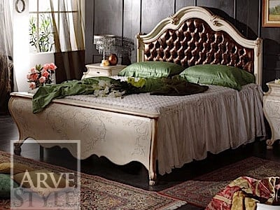 Double bed with upholstered headboard PERSIA | Bed with tufted headboard by Arvestyle