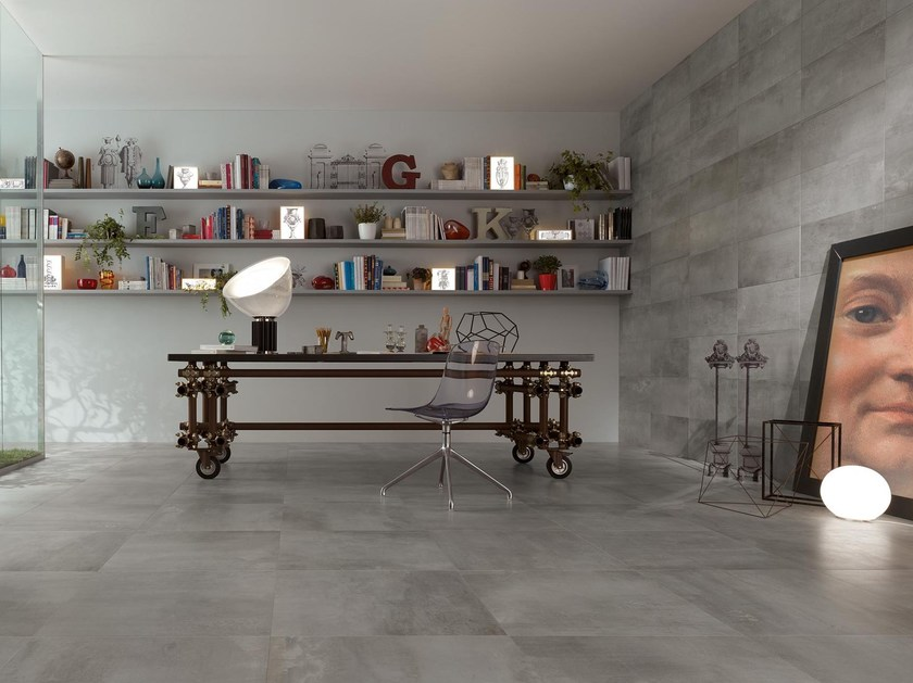Full-body porcelain stoneware wall/floor tiles PETITOT ZINC by NOVOCERAM
