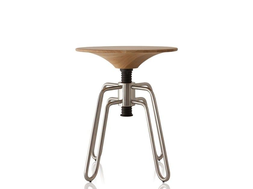 Low height-adjustable stainless steel stool PHILLIPS | Stainless steel stool - Sollos