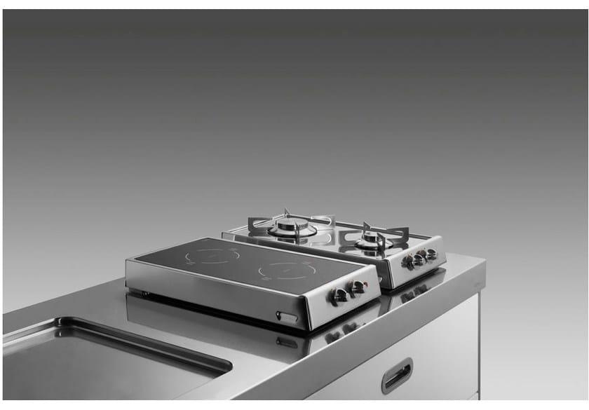 piano cottura a gas a induzione da appoggio in acciaio inox piani ... - Piano Cucina Acciaio