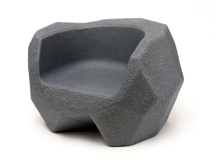 Polyethylene garden armchair with armrests for children PIEDRAS | Garden armchair - Magis