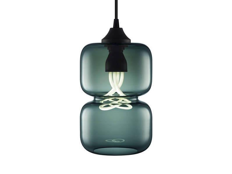 Handmade blown glass pendant lamp PINCH CHROMA - Niche Modern