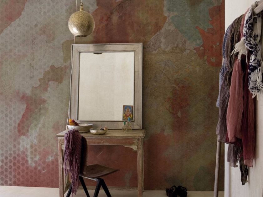 Panoramic wallpaper with floral pattern PINK METAL - Inkiostro Bianco