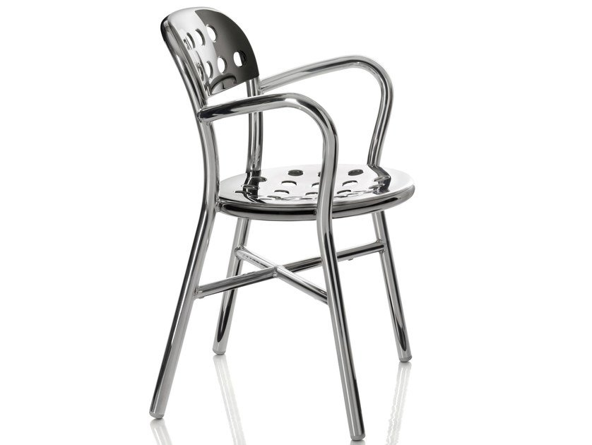 Stackable garden chair with armrests PIPE | Chair with armrests - Magis