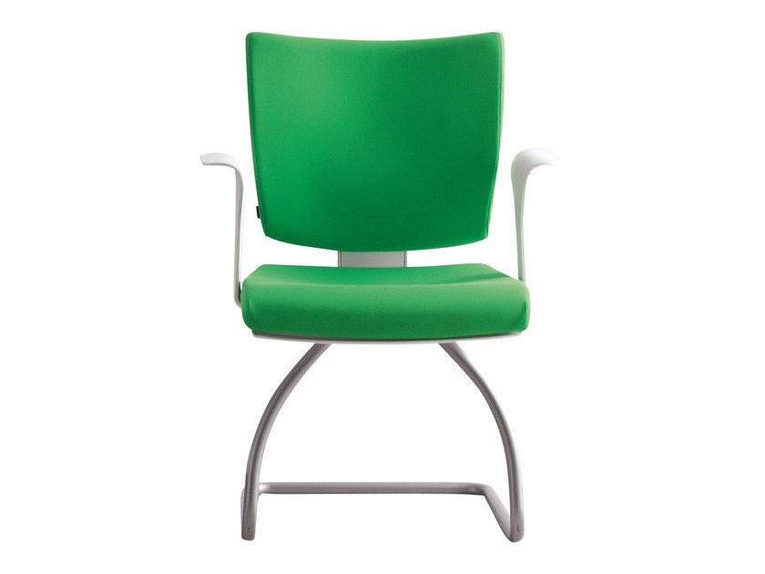 Cantilever upholstered chair with armrests PIXEL   Cantilever chair - Luxy