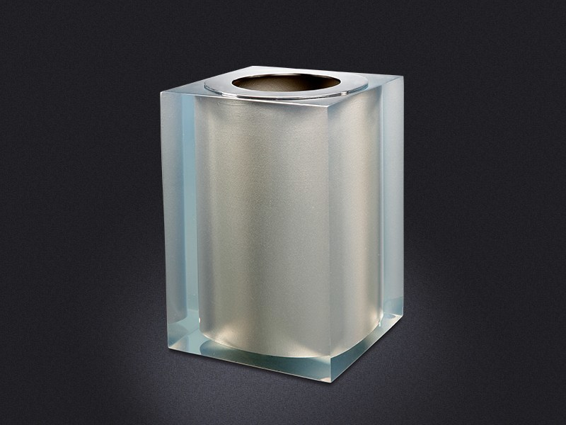 Resin bathroom waste bin PLATINUM GLOSS | Bathroom waste bin - Vallvé Bathroom Boutique