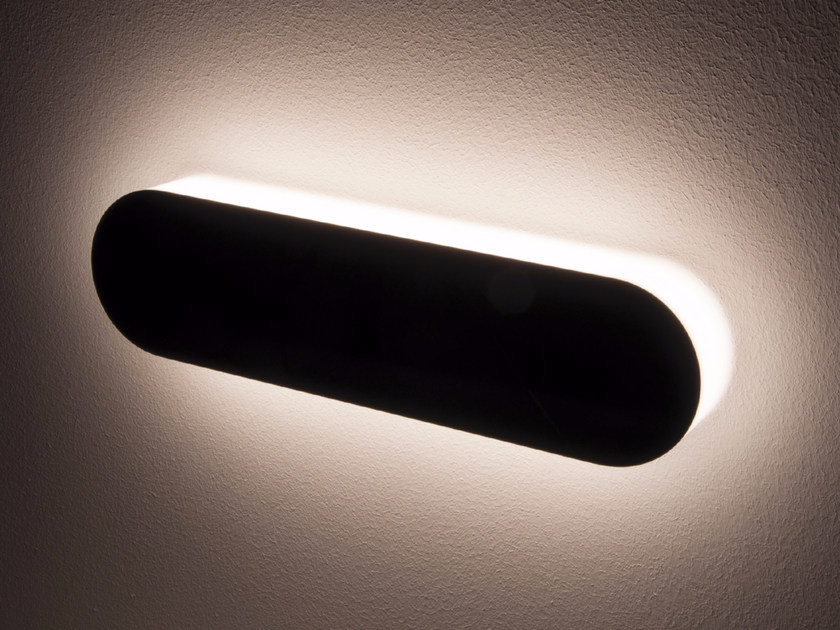LED indirect light stainless steel wall lamp PLATÒ 30 by Quicklighting