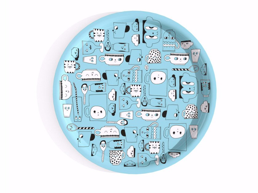 Round multi-layer wood tray PLATOPOLIS BLEU R38 - Bazartherapy