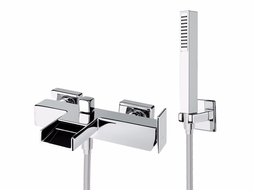 Wall-mounted bathtub mixer with hand shower PLAYONE 85 - 8533362 - Fir Italia