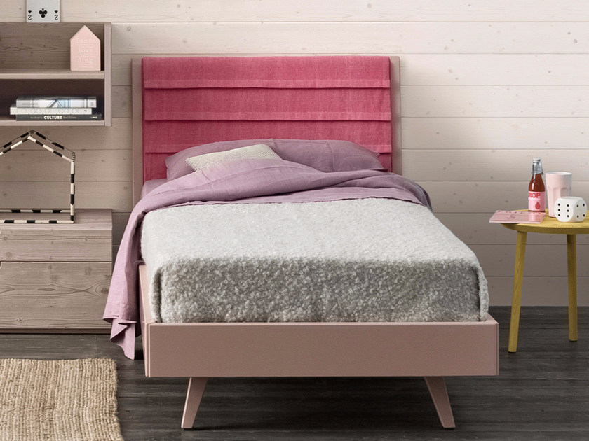 Wooden single bed with upholstered headboard PLISSÈ by Scandola Mobili
