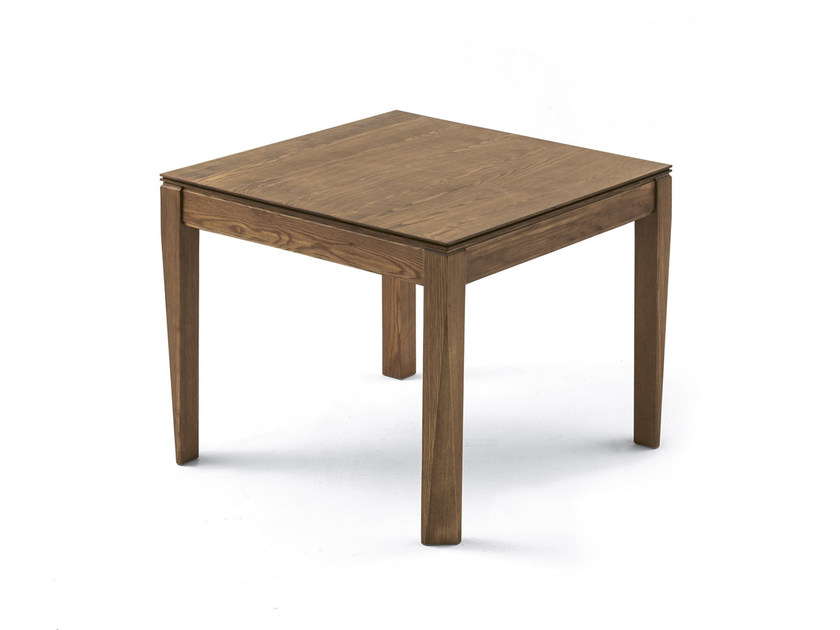 Extending square living room table PLURIMO | Wood veneer table - Pacini & Cappellini