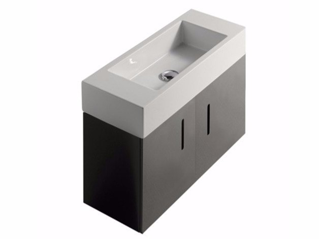 Lacquered wall-mounted MDF vanity unit with doors PLUS DESIGN 75 X 30 | Vanity unit - GALASSIA