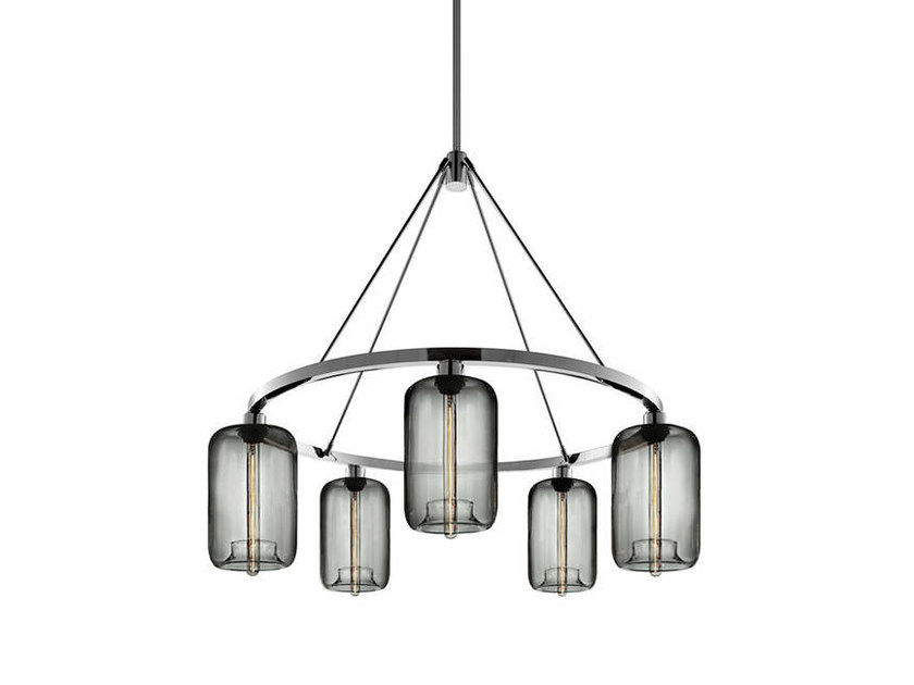 LED blown glass chandelier POD | Chandelier - Niche Modern