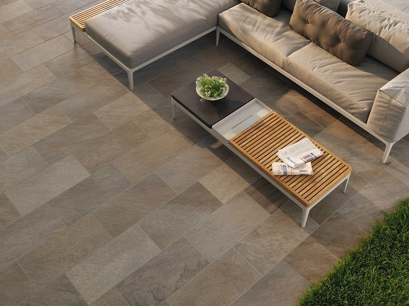 Porcelain stoneware outdoor floor tiles with stone effect POINT GREY MULTICOLOR - CERAMICHE KEOPE