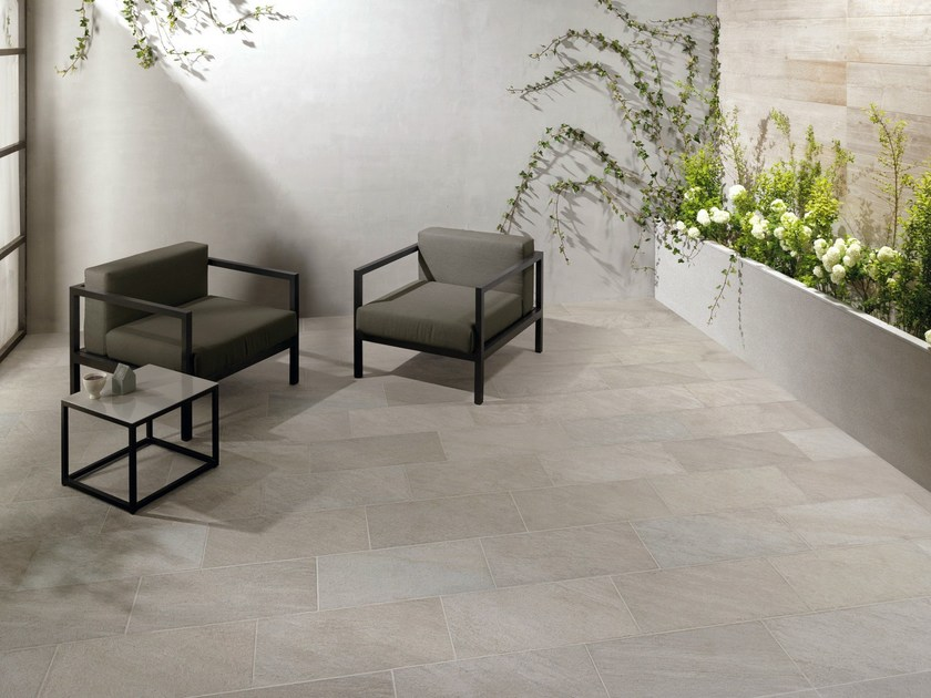 Porcelain stoneware outdoor floor tiles with stone effect POINT SILVER by CERAMICHE KEOPE