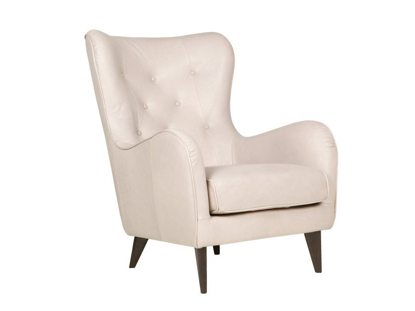 Tufted leather wingchair with armrests POLA   Leather armchair - SITS