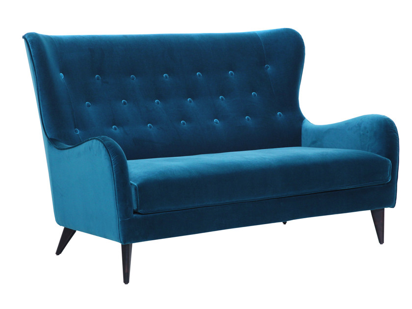 Tufted 2 seater high-back velvet sofa POLA | Velvet sofa - SITS
