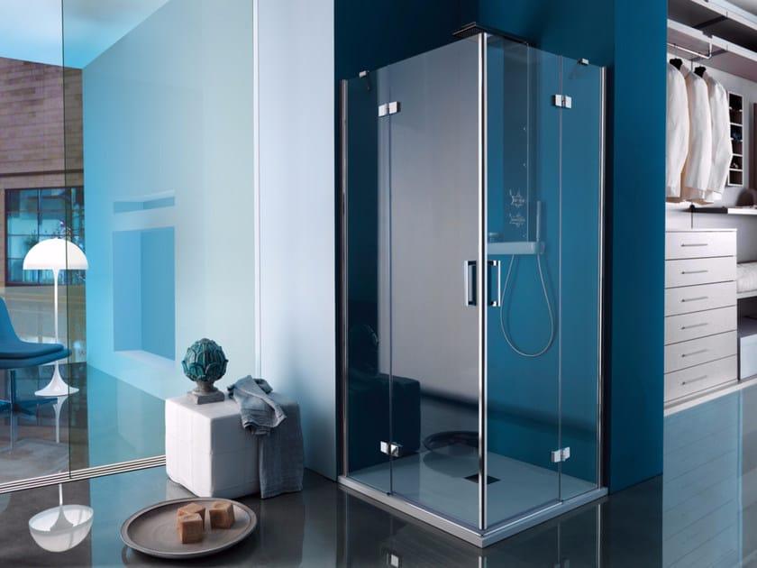 Corner rectangular shower cabin with hinged door POLARIS DESIGN | Rectangular shower cabin - Samo