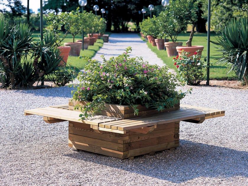 Fioriera con panca in legno per parchi POLIS - ALCE