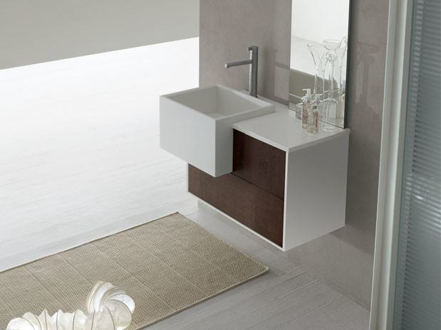 Lacquered single wall-mounted vanity unit POLLOCK - COMPOSITION 29 - Arcom