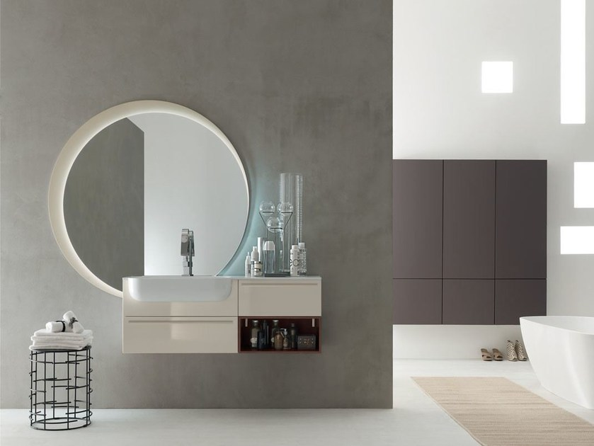 Lacquered single wall-mounted vanity unit POLLOCK - COMPOSITION 31 by Arcom