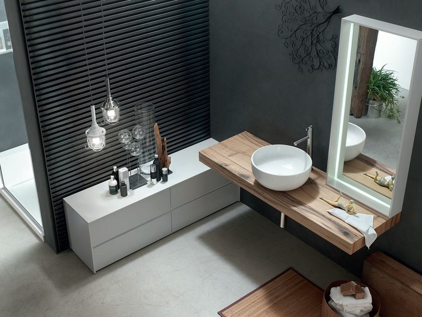 Washbasin countertop / bathroom cabinet POLLOCK YAPO - COMPOSITION 54 - Arcom