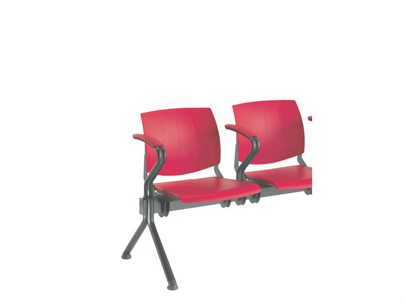 Plastic beam seating with armrests Q-44 FIX | Polypropylene beam seating - Sesta