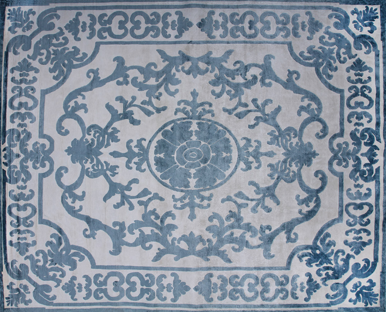 Patterned handmade custom wool rug POMPADOUR SKY - EDITION BOUGAINVILLE
