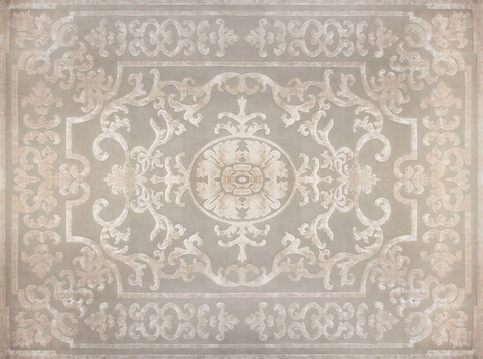 Patterned handmade custom wool rug POMPADOUR WHITE - EDITION BOUGAINVILLE