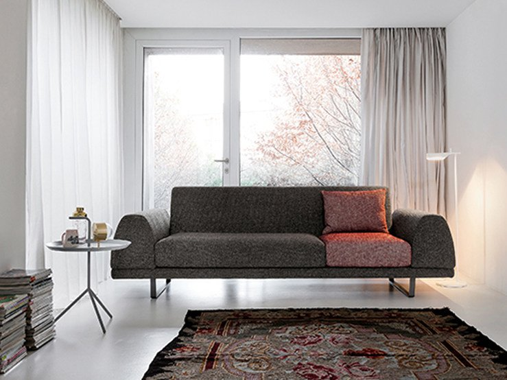 Sled base 3 seater fabric sofa PORTLAND | 3 seater sofa - Dall'Agnese