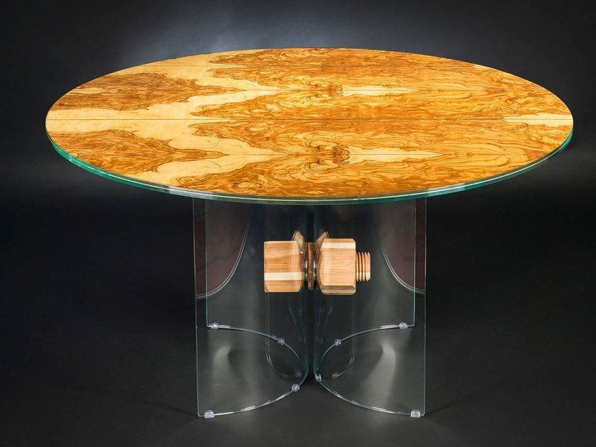 Round wood and glass table PORTOFINO | Round table - VGnewtrend