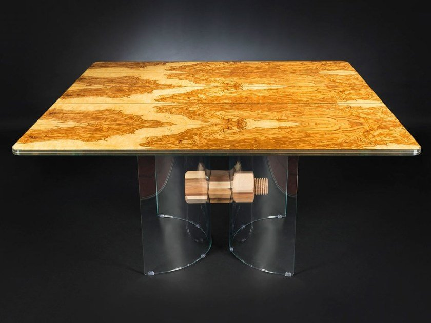 Square wood and glass table PORTOFINO | Square table - VGnewtrend