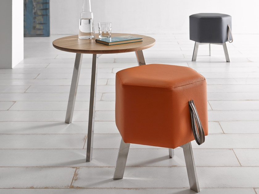 Upholstered leather pouf HONEY | Pouf - Altinox Minimal Design