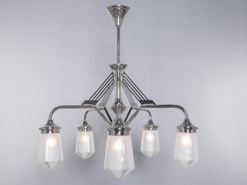 Lampadario a luce diretta fatta a mano in nichel PRAGUE I | Lampadario in nichel - Patinas Lighting