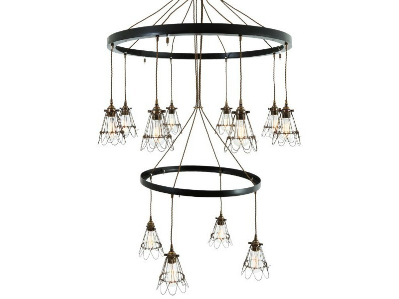 Industrial style handmade brass chandelier PRAIA 2 TIER | Chandelier - Mullan Lighting