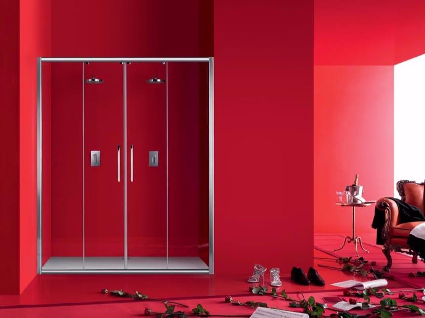 Niche glass shower cabin with sliding door PRAIA - 3 - INDA®