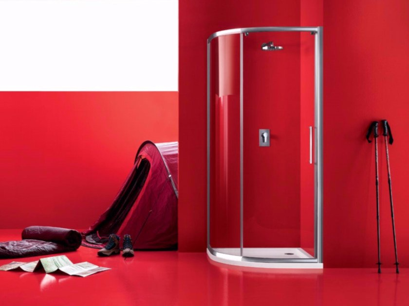 Semicircular glass shower cabin with sliding door PRAIA - 6 - INDA®