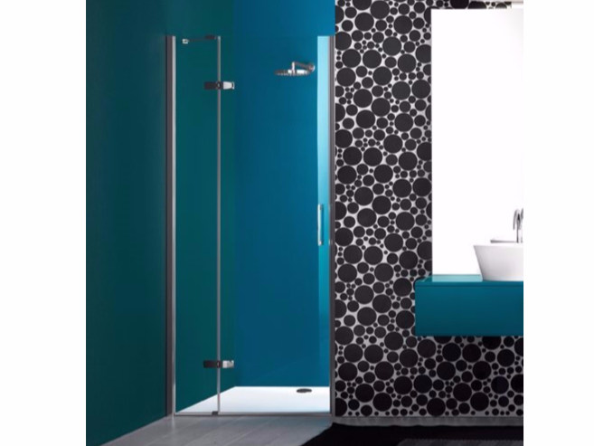 Niche shower cabin with hinged door and fixed element PRAIA DESIGN - 4 - INDA®