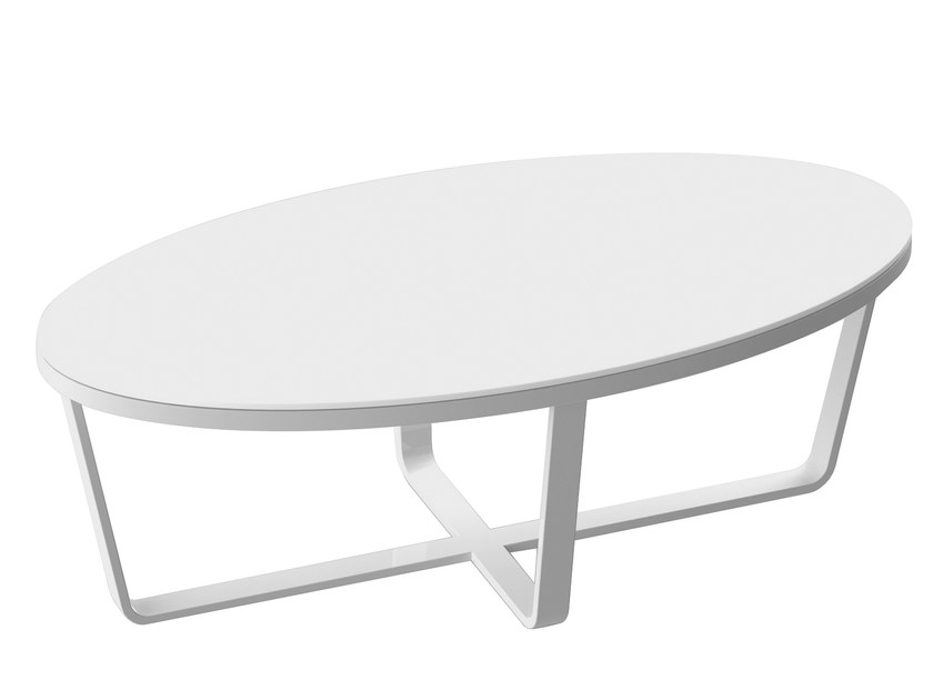 Lacquered oval aluminium coffee table PRIMADONNA | Coffee table - solpuri