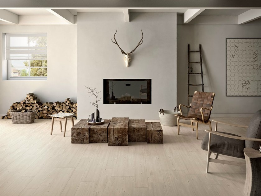 Ecological porcelain stoneware flooring with wood effect PRIME WHITE by CERAMICHE KEOPE
