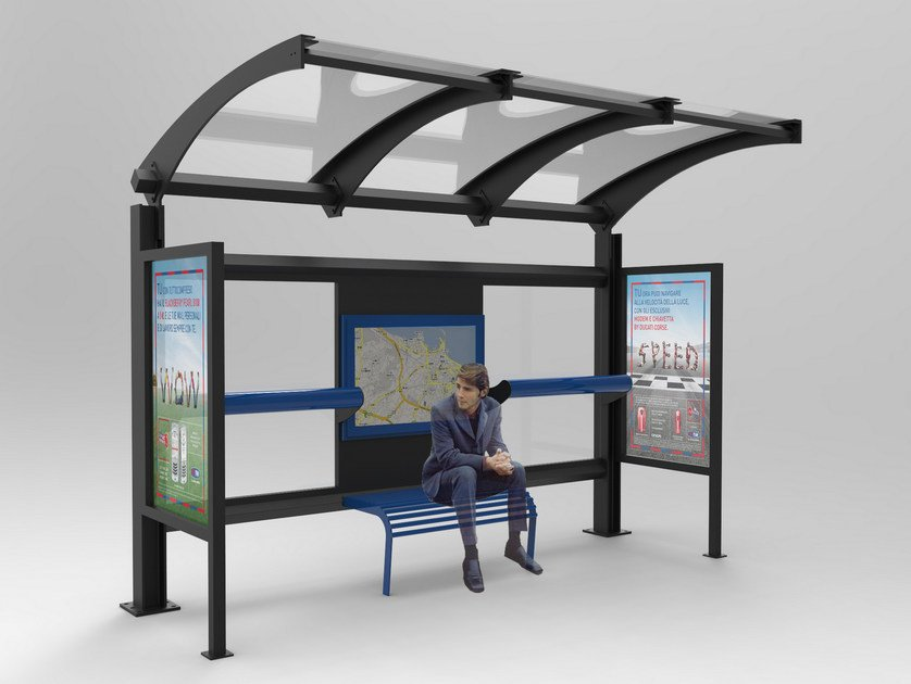 Glass and steel porch for bus stop PRIMERA by CITYSì