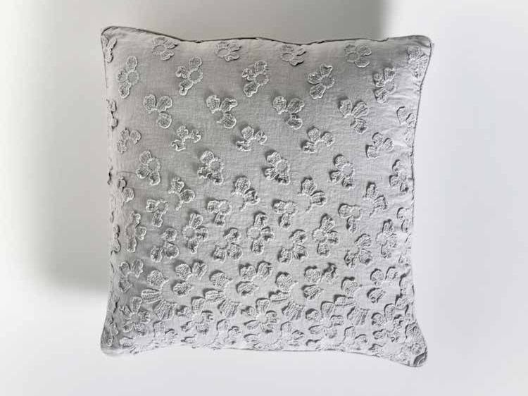 Square hand embroidered linen cushion PRIMULA | Square cushion - LA FABBRICA DEL LINO by Bergianti & Pagliani
