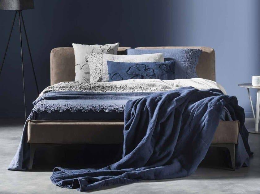 Linen bedspread with floral pattern PRIMULA | Bedspread - LA FABBRICA DEL LINO by Bergianti & Pagliani