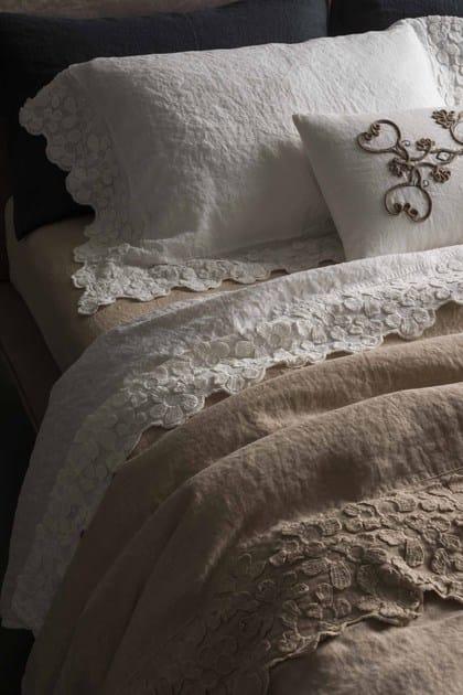Federa in lino con motivi floreali primula federa la - La fabbrica del lino letto ...