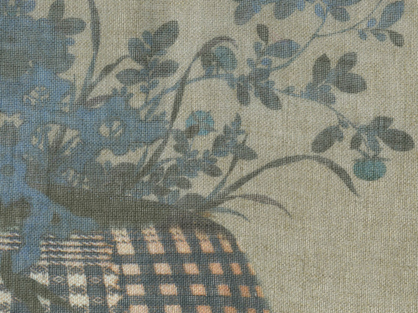 Linen fabric with floral pattern PRINTEMPS - KOHRO