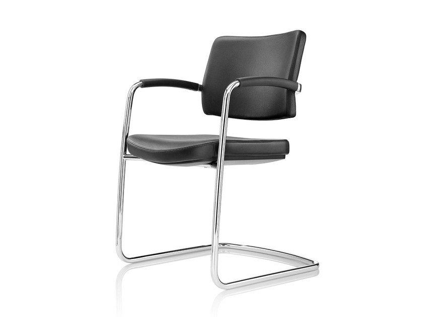Cantilever upholstered leather chair PRO | Cantilever chair - Boss Design