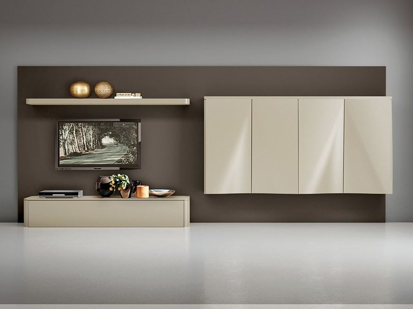 Wall-mounted lacquered storage wall LALTROGIORNO 804 - TUMIDEI