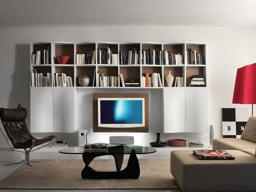 Wall-mounted lacquered storage wall LALTROGIORNO 808 - TUMIDEI